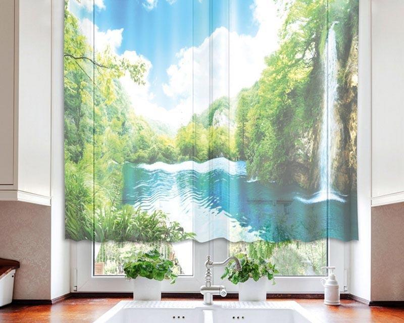 Fotozáclona Relax v lese VO-140-004 textilní foto záclona / záclony s fototiskem 140 x 120 cm Dimex