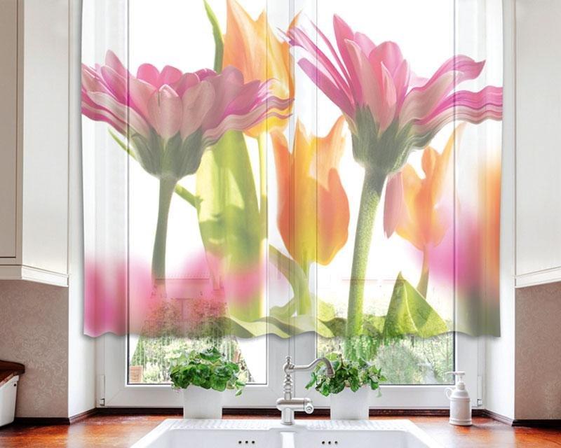 Fotozáclona Jarní květiny VO-140-010 textilní foto záclona / záclony s fototiskem 140 x 120 cm Dimex