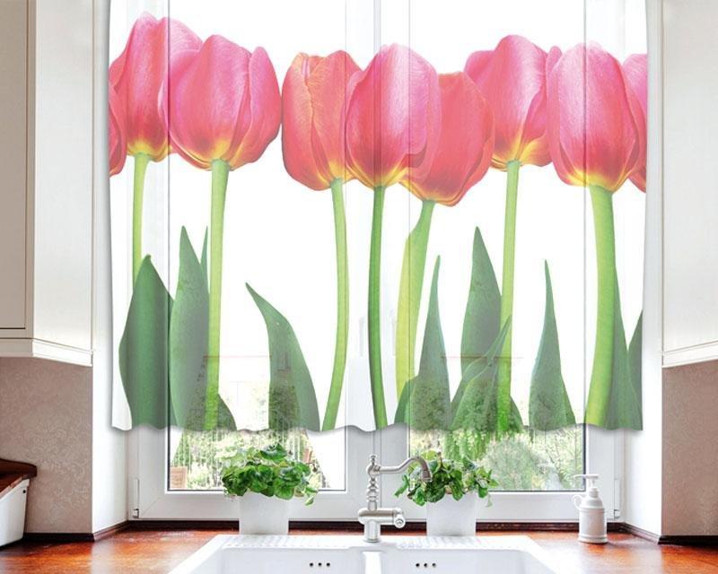 Fotozáclona Červené tulipány VO-140-011 textilní foto záclona / záclony s fototiskem 140 x 120 cm Dimex