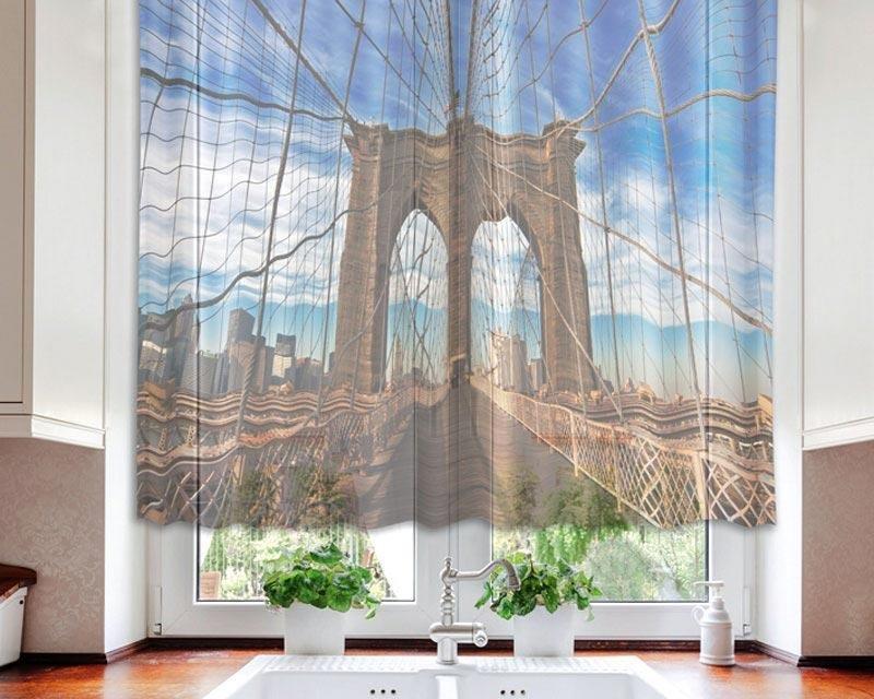 Fotozáclona Brooklynský most VO-140-003 textilní foto záclona / záclony s fototiskem 140 x 120 cm Dimex