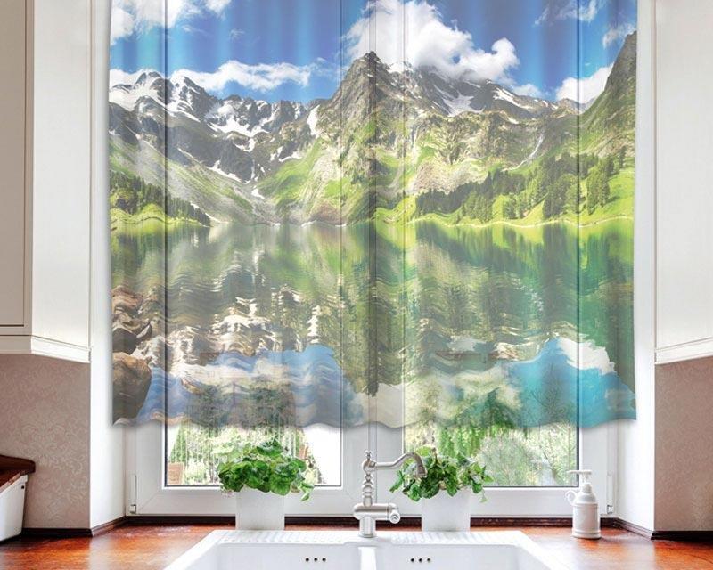 Fotozáclona Jezero VO-140-005 textilní foto záclona / záclony s fototiskem 140 x 120 cm Dimex