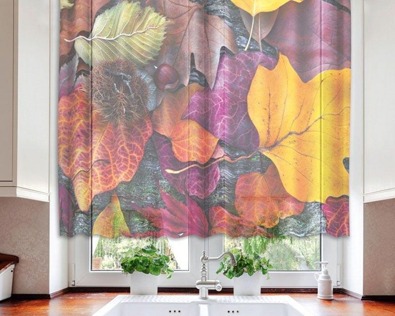 Fotozáclona Podzimní listí VO-140-008 textilní foto záclona / záclony s fototiskem 140 x 120 cm Dimex