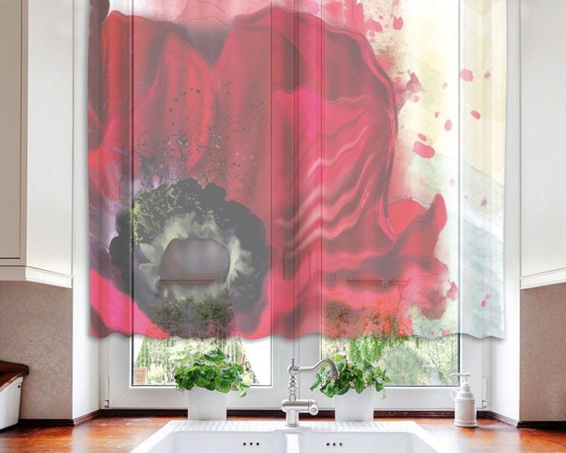 Fotozáclona Červený mák VO-140-014 textilní foto záclona / záclony s fototiskem 140 x 120 cm Dimex