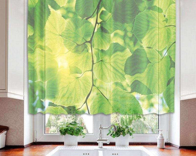 Fotozáclona Zelené listy VO-140-016 textilní foto záclona / záclony s fototiskem 140 x 120 cm Dimex