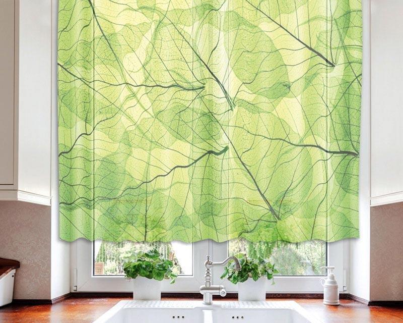 Fotozáclona Žilky zelených listů VO-140-020 textilní foto záclona / záclony s fototiskem 140 x 120 cm Dimex
