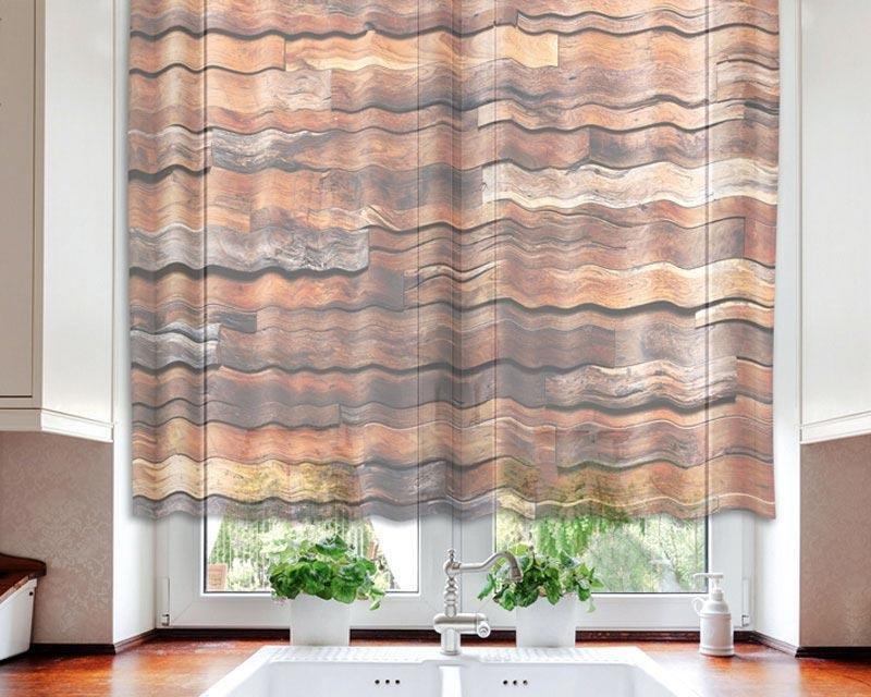 Fotozáclona Dřevěná zeď VO-140-021 textilní foto záclona / záclony s fototiskem 140 x 120 cm Dimex