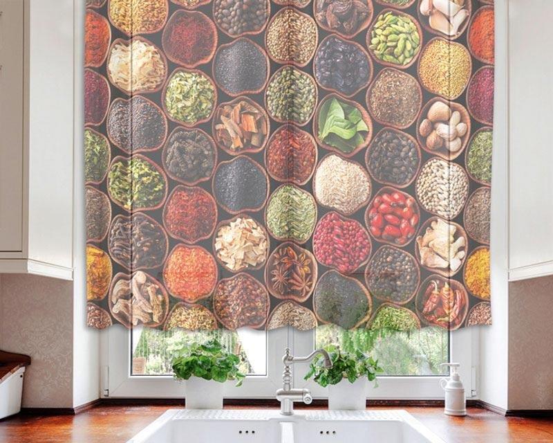 Fotozáclona Misky s kořením VO-140-024 textilní foto záclona / záclony s fototiskem 140 x 120 cm Dimex