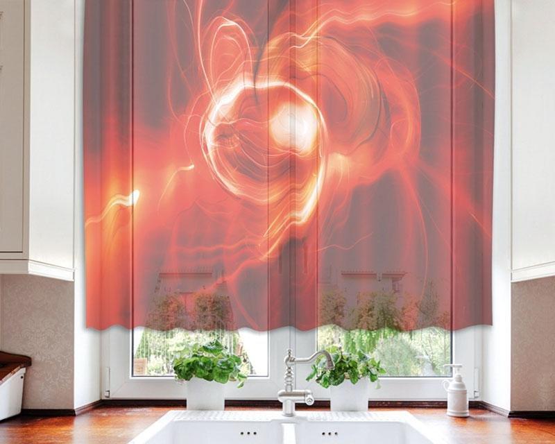 Fotozáclona Červený abstrakt VO-140-027 textilní foto záclona / záclony s fototiskem 140 x 120 cm Dimex