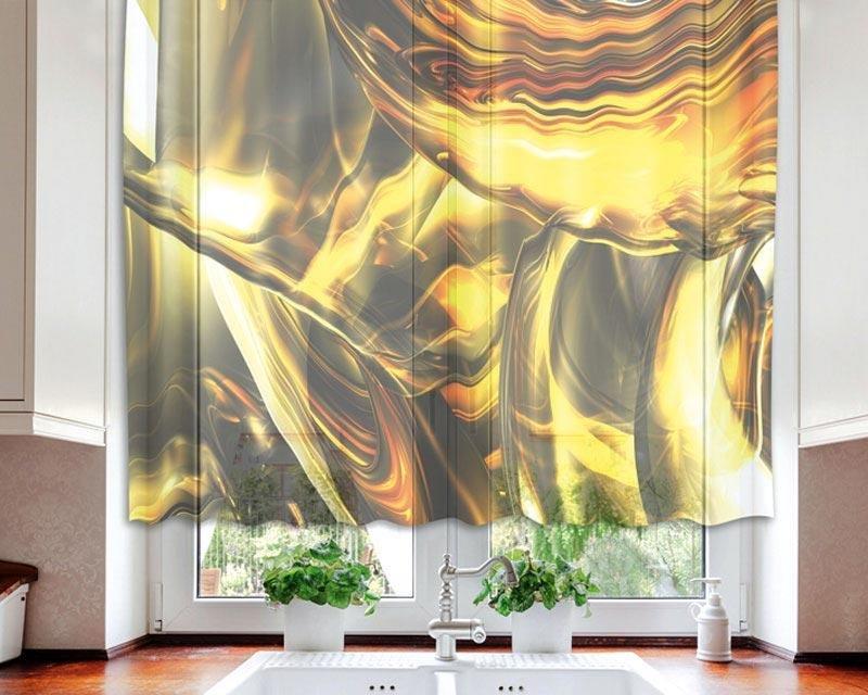 Fotozáclona Zlatý abstrakt VO-140-028 textilní foto záclona / záclony s fototiskem 140 x 120 cm Dimex