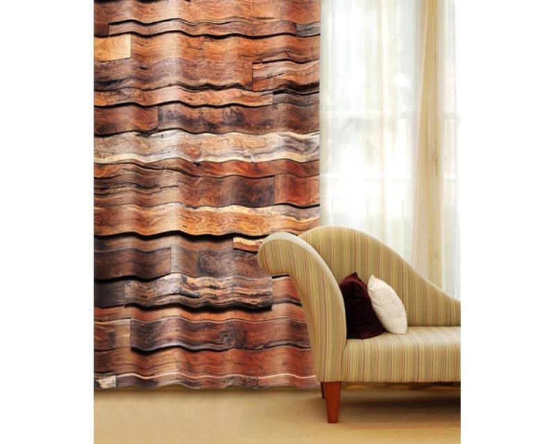 Fotozávěs Dřevěná zeď CU-140-022 textilní foto závěs / závěsy s fototiskem 140 x 245 cm Dimex