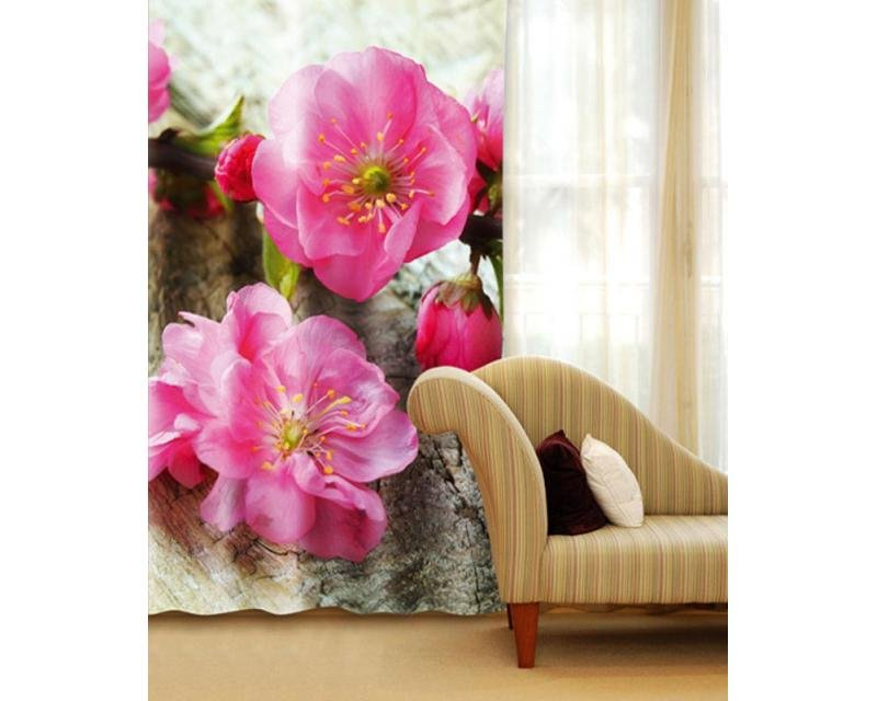 Fotozávěs Sakura CU-140-018 textilní foto závěs / závěsy s fototiskem 140 x 245 cm Dimex