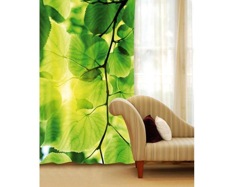 Fotozávěs Zelené listy CU-140-014 textilní foto závěs / závěsy s fototiskem 140 x 245 cm Dimex
