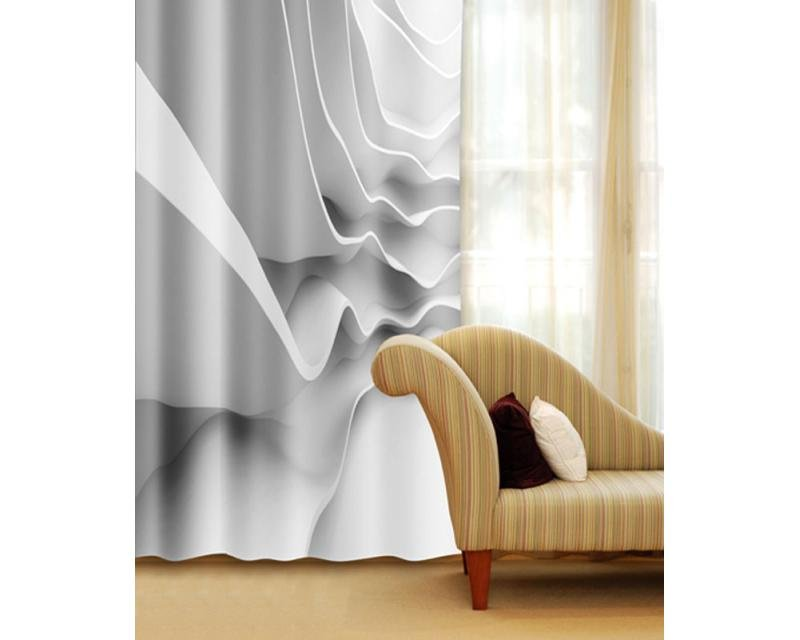 Fotozávěs Futuristická bílá vlna CU-140-026 textilní foto závěs / závěsy s fototiskem 140 x 245 cm Dimex