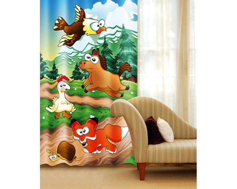 Fotozávěs Zvířátka z lesa CU-140-030 textilní foto závěs / závěsy s fototiskem 140 x 245 cm Dimex