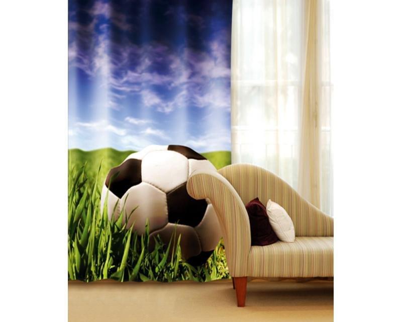 Fotozávěs Fotbalový míč CU-140-027 textilní foto závěs / závěsy s fototiskem 140 x 245 cm Dimex