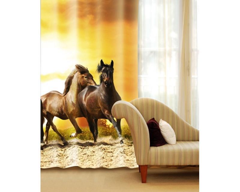 Fotozávěs Koně při západu slunce CU-140-019 textilní foto závěs / závěsy s fototiskem 140 x 245 cm Dimex