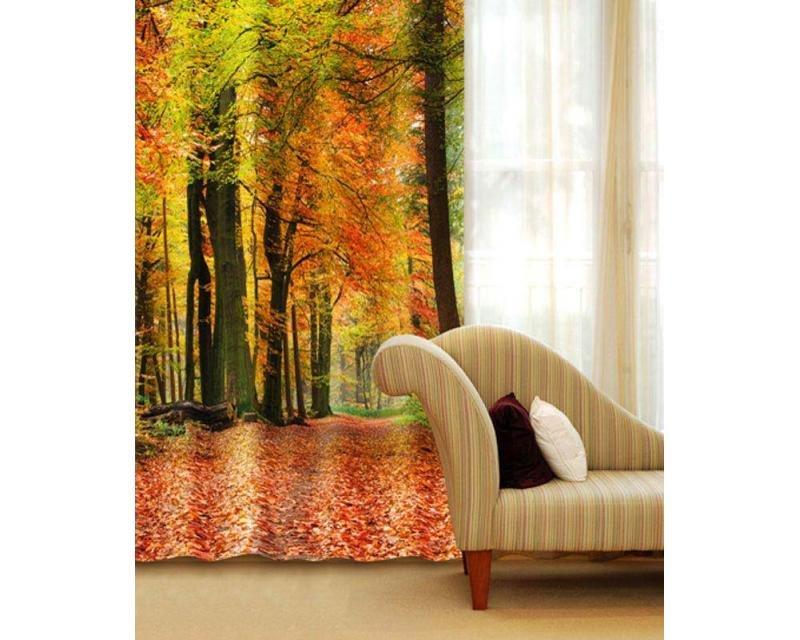 Fotozávěs Podzimní les CU-140-009 textilní foto závěs / závěsy s fototiskem 140 x 245 cm Dimex