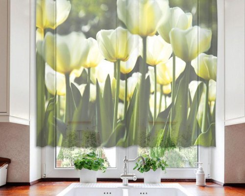 Fotozáclona Bílé tulipány VO-140-012 textilní foto záclona / záclony s fototiskem 140 x 120 cm Dimex