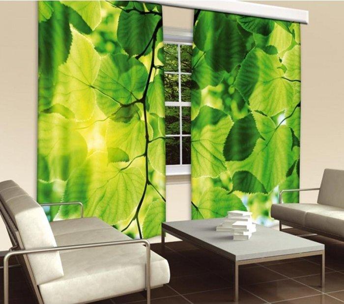 Fotozávěs Zelené listy CU-280-014 textilní foto závěs / závěsy s fototiskem 280 x 245 cm Dimex